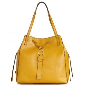 THE BRIDGE Margherita Line – Cintron Yellow Leather Tote Bag Made In Italy