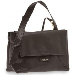 THE BRIDGE Black Leather Shoulder Bag Pienza Line