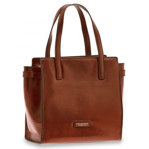THE BRIDGE Bianca Line - Brown Leather Shopping Bag Made in Italy