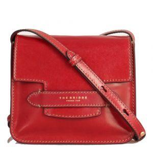 THE BRIDGE Lucrezia Line – Red Leather Shoulder Bag with Flap Closure
