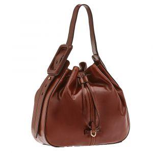 THE BRIDGE Brown Leather Shoulder Bucket Bag Gorgona Line