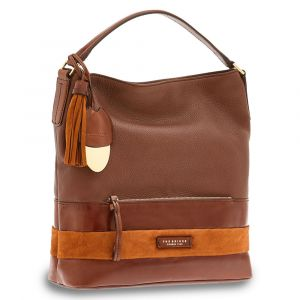 THE BRIDGE Brown Leather Sac Handbag Ognissanti Line Made in Italy