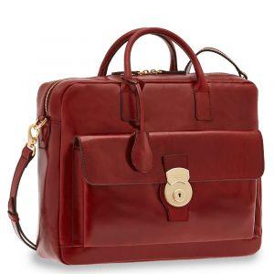 """THE BRIDGE Bordeaux Leather Two Handle Briefcase PC 14"""" Capalbio Line"""