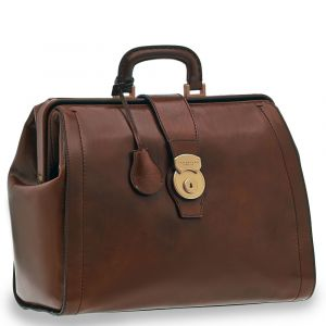 """THE BRIDGE Brown Leather Doctor Bag PC 14"""" Capalbio Line Made in Italy"""