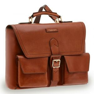 THE BRIDGE Brown Leather Briefcase Giannutri Line