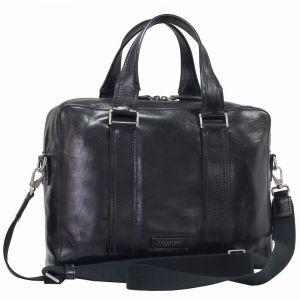"THE BRIDGE Black Leather Two Handle Briefcase Pc 14"" Trebbio Line"