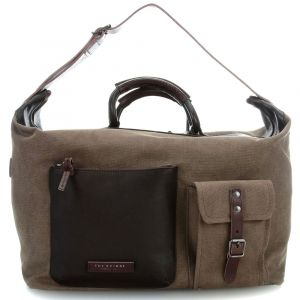 THE BRIDGE Khaki and Dark Brown Canvas and Leather Carry-On Travel Bag Carver-D Line