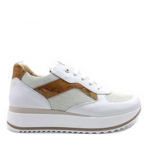 1A Classe Alviero Martini Geo Classic Line – White Leather and Fabric Sneakers 0926