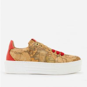 1A Classe Alviero Martini Geo Classic Line – Canvas Sneakers with Red Details P308