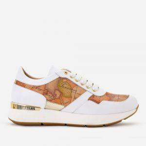 1A Classe Alviero Martini Geo Classic Line – White Leather Sneakers P316
