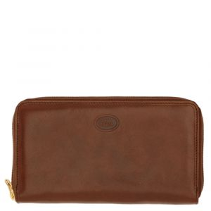 THE BRIDGE Story Line - Brown Leather Zip Around Wallet Made in Italy
