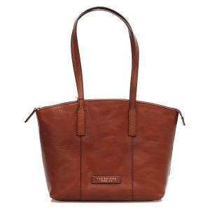 THE BRIDGE Story Line - Brown Leather Woman Tote Bag Made in Italy