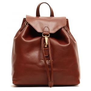 THE BRIDGE Basic Line - Brown Leather Woman Backpack Made in Italy