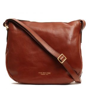 THE BRIDGE Brown Leather Sac Cross-body Bag Passpartout Line Made in Italy