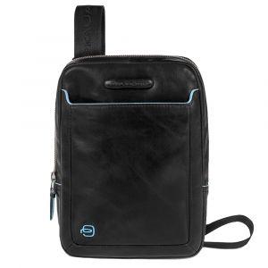 Man Pouch iPad Mini Door - PIQUADRO Blue Square online CA3084B2 Black Leather