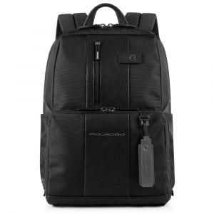 "PIQUADRO Brief Line – Black Fabric Backpack with 14 "" Pc Compartment and Burglar alarm CA3214BRBM"