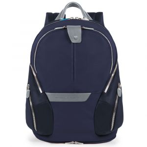 """PIQUADRO Coleos Line – Blue Leather and Fabric Backpack with 13.3 """" Pc Compartment CA3936OS"""