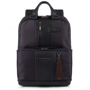 """PIQUADRO Brief Line –  Blue Leather Backpack with 15.6"""" Pc Compartment CA3975BR"""