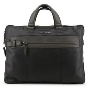 "PIQUADRO Scott Line – Black Leather Portfolio With 15,6"" Pc Compartment CA4197W83"