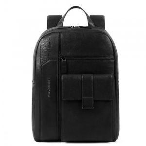 PIQUADRO Kobe Line – Black Leather Backpack CA4943S105
