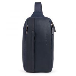 PIQUADRO Falstaff Line – Ottanio Blue Leather Mono Sling Bag With iPad mini CompartmentCA5107S111