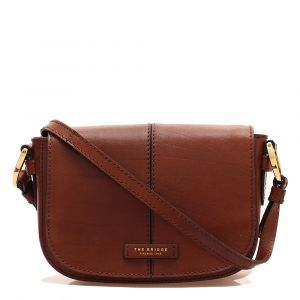 THE BRIDGE Faentina Line - Brown Leather Crossbody Bag Made in Italy