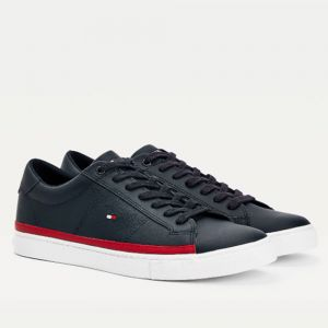 TOMMY HILFIGER Essential Line – Blue Leather Sneakers For Men