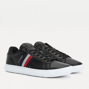 TOMMY HILFIGER Essential Cupsole Line – Black Leather Sneakers
