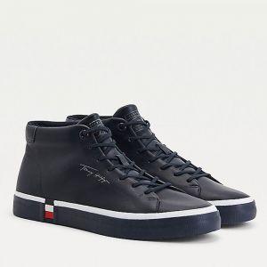 TOMMY HILFIGER Modern Line – Blue Leather Sneakers for Men