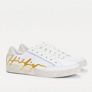 TOMMY HILFIGER White Leather Sneakers With Signature Logo