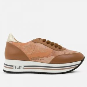 1A Classe Alviero Martini New Geo Crossing Line – Brown Leather Sneakers P941