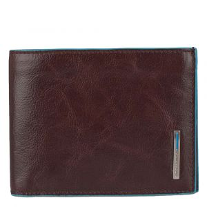 PIQUADRO Blue Line – Mahogany Leather Wallet with Coin Pouch PU257B2