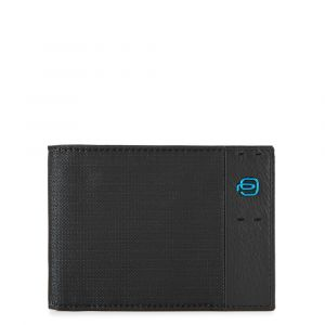 PIQUADRO P16 Line – Black Wallet With Coins Pouch For Men PU257P16