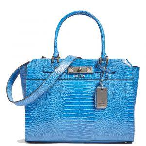 GUESS Raffie Line – Blue Handle Bag with Croco Print