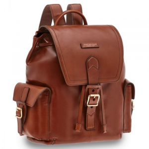 """THE BRIDGE Giannutri - Brown Leather 13"""" Laptop Backpack Made in Italy"""