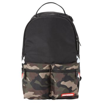 SPRAYGROUND Camo Side Shark Double Cargo - Black Fabri Man Backpack