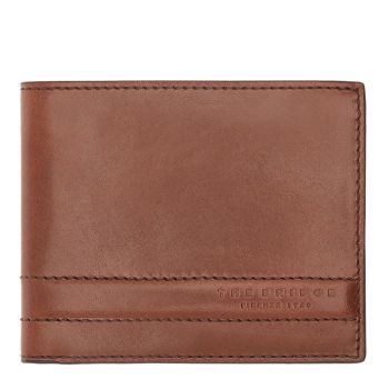 THE BRIDGE Soderini Line - Brown Leather Man Wallet Card Holder Made in Italy