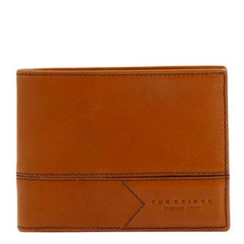 THE BRIDGE Giannutri Line – Cognac Leather Wallet Made in Italy