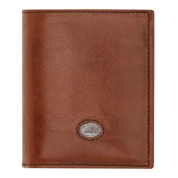 THE BRIDGE Lorenzo Line – Brown Leather Vertical Wallet Made in Italy