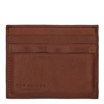 THE BRIDGE Vespucci Line - Brown Leather Credit Card Holder Made in Italy