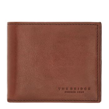 THE BRIDGE Lapo Line – Brown Red Leather Wallet for Men