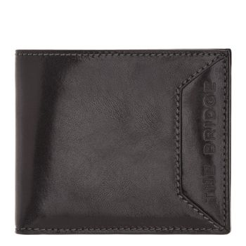 THE BRIDGE Bufalini Line - Black Leather Man Wallet with Coin Case
