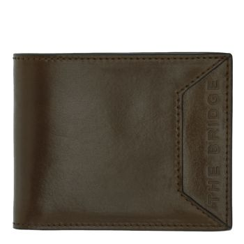 THE BRIDGE Bufalini Line – Military Green Leather Wallet for Men