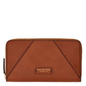 THE BRIDGE Tintori Line - Cognac Leather Zip Around Wallet