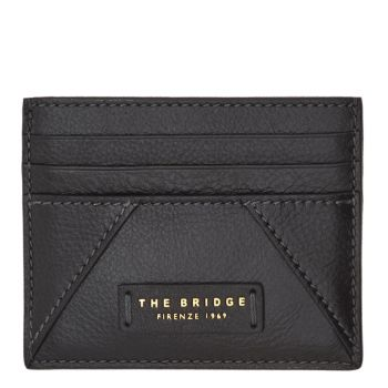 THE BRIDGE Tintori Line - Black Leather Woman Card Holder Made in Italy