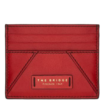 THE BRIDGE Tintori Line - Red Leather Woman Card Holder Made in Italy