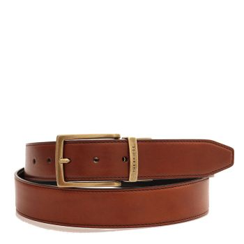 THE BRIDGE Story Line - Double Face Brown and Black Leather Belt 110cm Made in Italy