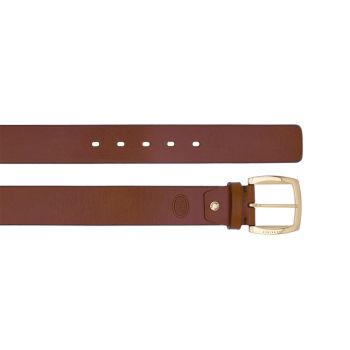 THE BRIDGE Brown Leather Belt with Gold Buckle 100cm h 4cm Brunelleschi Line Made in Italy