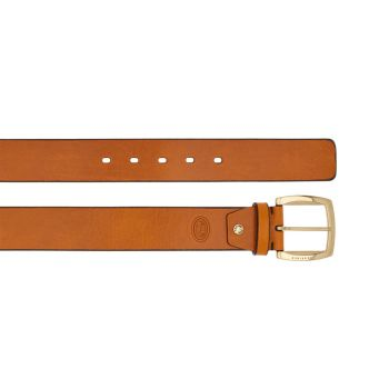 THE BRIDGE Cognac Color Leather Belt with Gold Buckle 110cm h 4cm Brunelleschi Line Made in Italy