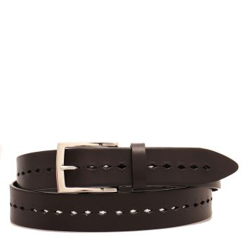 THE BRIDGE Brunelleschi Line – Black Leather Belt Made in Italy 0339501R20